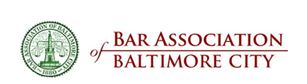 Picture of text for the Bar Association of Baltimore City white background with red text and green symbol.